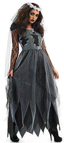 Damen Schwarz Zombie Leichnam Lang Länge Braut Halloween Kostüm Kleid Outfit 8-30 Übergröße - (Corpse Schleier Kostüm Bride)
