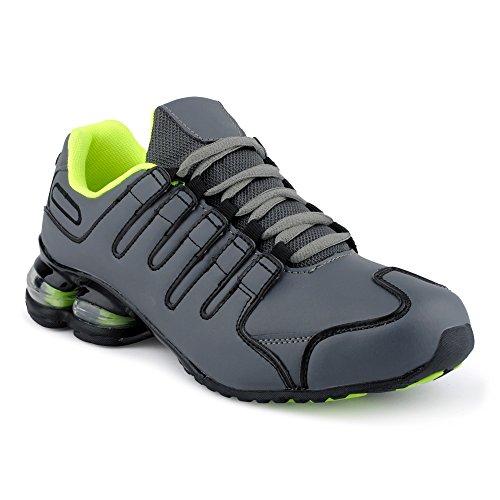 Fusskleidung Herren Damen Sneaker Sportschuhe Lauf Freizeit Neon Runners Fitness Low Unisex Schuhe Grau/Schwarz/Grün-W EU 39 (Jordan Schuhe Schwarz Und Grau)