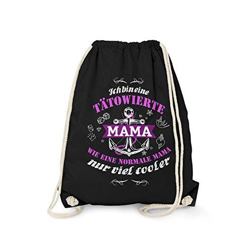 tel - Ich Bin eine tätowierte Mama | Fun Rucksack als Geburtstag Geschenk Idee für Tattoo Träger, Farbe:schwarz ()