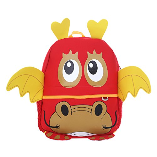 DonDon Kinderrucksack für Mädchen und Jungen Tiermotiv Drache rot 33 x 26 x 13 cm (Küken Junge)