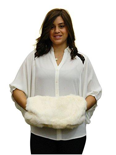 Espagnol muff fourrure de lapin FursNewYork à main et sac d'embrayage, de grande taille Ivoire