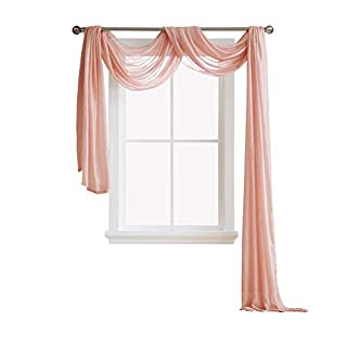 AsaTex Semi Sheer Luxury Window Scarf - Stylish Decor Window Treatments - Provide Privacy - Perfect Addition for Curtains Drapes - Soft Durable Polyester (Scarf 54x144, Coral)