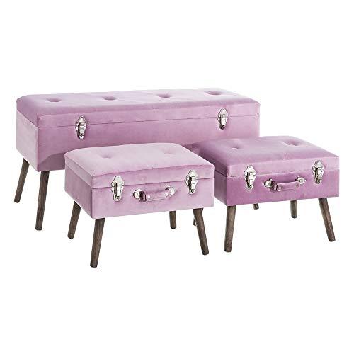 Banquetas baúl tapizadas de Terciopelo Rosa Vintage para salón Iris - LOLAhome