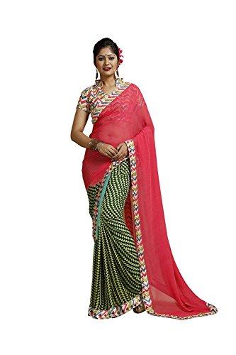 DaFacioun Striking Plain Pallu Saree in Crimson