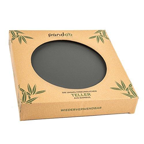 Juego de 6platos Bambú–sin BPA & lebensmittelecht–Picnic & Camping Vajilla negro Negro Talla:24 cm