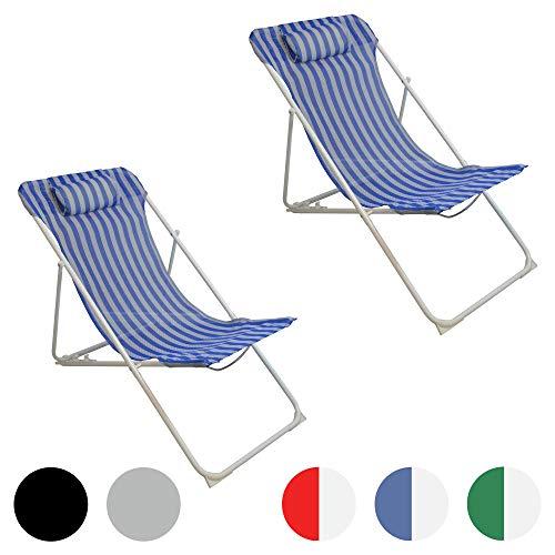Harbour Housewares, Sedia a Sdraio da Giardino, in Metallo, 3 Posizioni, a Righe Blu/Bianche - Set da 2