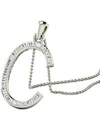 """Libertini 9ct Oro Blanco En forma de """"C"""" del alfabeto Collar de Diamante, 0.15 Ct Diamante, GH-PK, 50 piedras"""