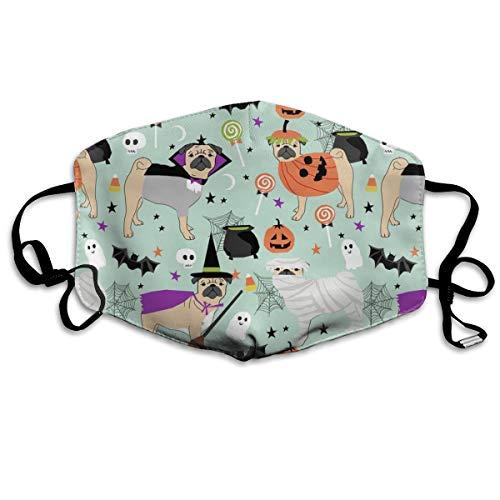 Pug Halloween-Kostüm - Niedliche Dogs in Kostüm, Anti-Staub-Maske, waschbar, wiederverwendbar, Mouth Masks (Erwachsenen Ash Kostüm)