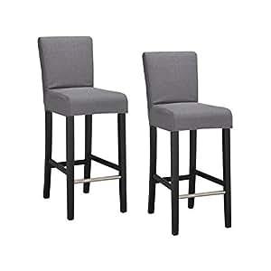 ELVIS Lot de 2 chaises de bar déhoussables grises