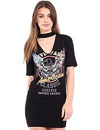 Fast Fashion - Vivre Vite Américain Classique Imprimé Sommet Foulard Cou Mini - Femmes
