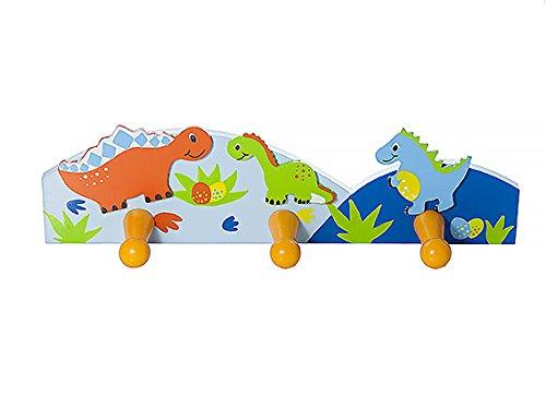 Attaccapanni da muro a tre ganci, appendi ganci a parete abiti a tema con dinosauri colorati per camera da letto o stanza dei bambini