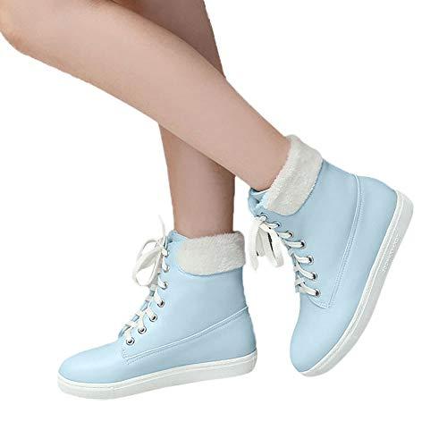 TianWlio Stiefel Frauen Herbst Winter Schuhe Stiefeletten Boots Herbst und Winter Freizeit Flache Schuhe Warm Halten Schnüren Damen Kurzes Booten Blau 36