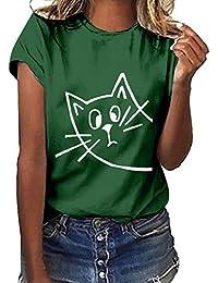 NINGNETI Camiseta De Manga Corta con Estampado De Gestos De Tallas Grandes para Mujer