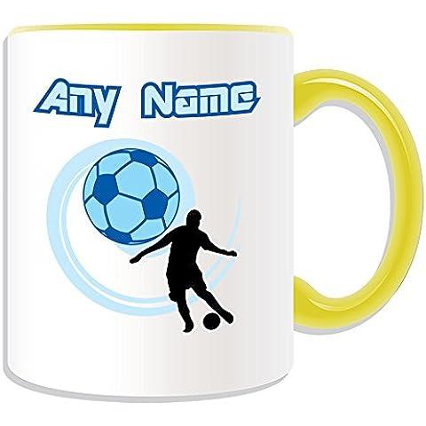 Regalo personaliseitonline - Taza de fútbol (deporte esquema del tema, colores) - nombre/mensaje de Fútbol FIFA Cuju - taza única, cerámica, amarillo