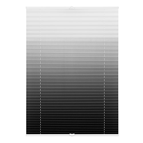 Lichtblick PKV.090.130.102 Plissee Klemmfix, Ohne Bohren, verspannt, Farbverlauf - Grau Weiß 90 cm x 130 cm (B x L)