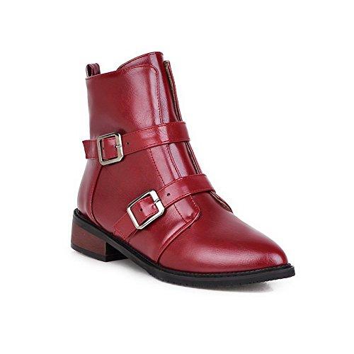 VogueZone009 Donna Cerniera Scarpe A Punta Tacco Basso Luccichio Bassa Altezza Stivali Rosso