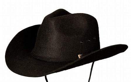 Karneval Klamotten Kostüm Cowboyhut Texas schwarz mit Schnalle gold Zubehör Wilder Westen ()