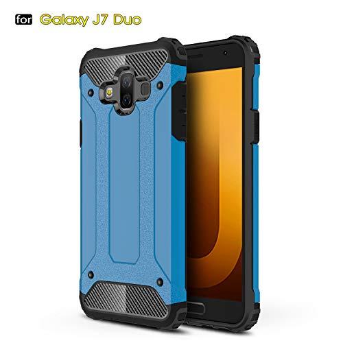 Aidinar Funda Samsung Galaxy J7 Duo, Funda Protectora Resistente a Prueba de Golpes Doble, PC Desmontable + TPU de Doble Capa Cubierta Protectora para Samsung Galaxy J7 Duo(Azul)