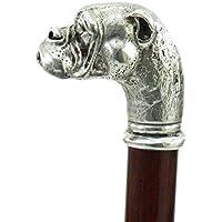 Bastoni da passeggio cane bulldog in peltro e legno elegante colore argento vintage per uomo e per donna ortopedico Cavagnini (incidiamo le tue iniziali) oltre 70 modelli