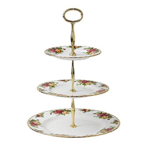 Royal Albert Old Country Roses Etagere/Kuchenständer, 3 Etagen, für Kuchen, mehrfarbig Etagere Gold Plate
