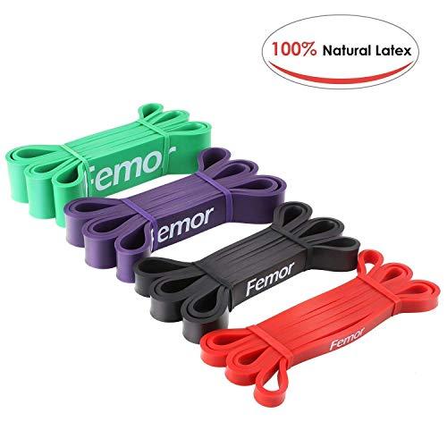 FEMOR Resistance Band Set Fitnessbänder Klimmzugband aus Naturlatex Widerstandsband Pull-Up Bänder für Krafttraining, Bodybuilding, Powerlifting & Fitness in 4 Stärken (Gewichtheben Gewicht Zu Verlieren)