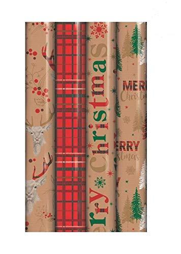 4x 5m rollos de Navidad papel de regalo papel de regalo tartán reno