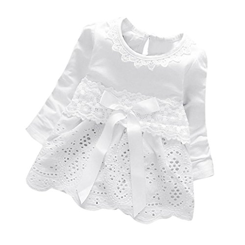 Herbst Kleidung Langarm Prinzessin Blumen Mädchen Kleid Bogen Spitzenkleid Party Kleid (0-24Monate) (80CM 12Monate, White) (Die Kostüme Bei Party Stadt Für Mädchen)