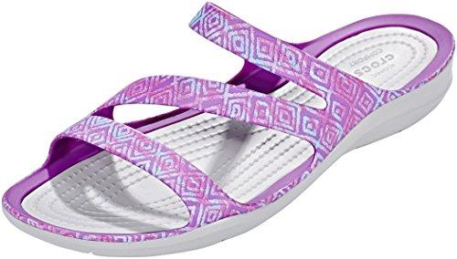 Crocs Swiftwater Graphic - Sandales Femme - Gris/Violet 2018