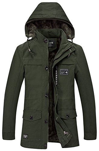 JIINN Herren Wärmejacke Parka Jacke Winterjacke Kapuze Übergangsjacke Kapuzenparka Jacket Mantel Wintermantel Mens Winter Coat Gefüttert (EU/DE Large, DE/5817 Armee grün) (Multi-pocket-kapuze Parka)