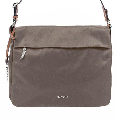 Breite Überschlagtasche von Waipuna aus hochwertigem Nylon mit Schlüsselanhänger taupe / taupe
