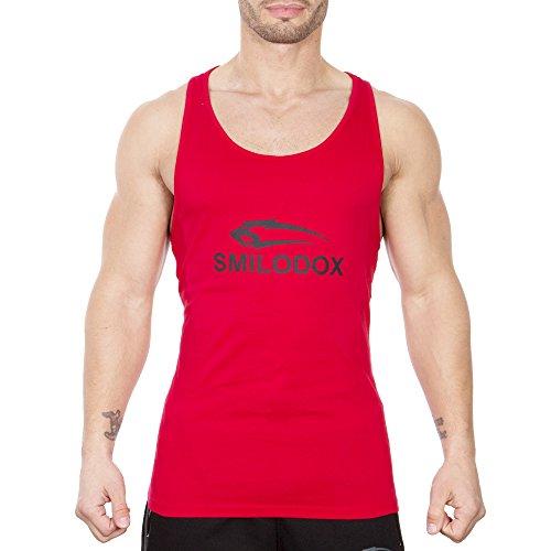 SMILODOX Stringer Herren | Muskelshirt mit Aufdruck für Sport Gym Fitness & Bodybuilding | Muscle Shirt - Tank Top - Unterhemd - Achselshirt - Trainingshirt Kurzarm Rot