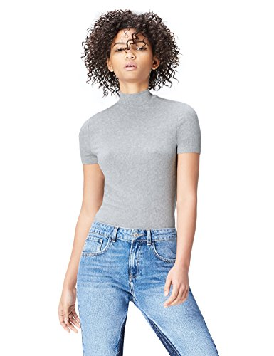 Find t-shirt a costine a collo alto donna , grigio (grau), 40 (taglia produttore: x-small)