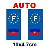 Autocollant plaque immatriculation drapeau haiti Auto