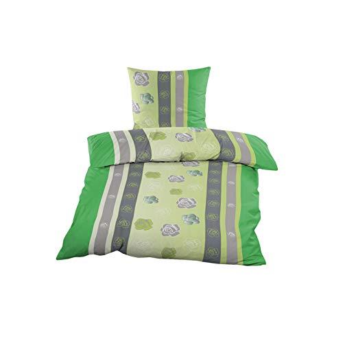 2 oder 4 TLG. Renforce Bettwäsche Set 135x200 cm Bettwäschegarnitur Grün Grau mit Rosen, Set-Größe:4-teiliges Set