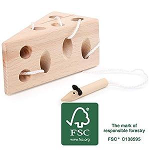 small foot company- enhebrar Queso y ratón de Madera FSC 100% certificada, Juego de motricidad clásico Juguetes, (Small Foot by Legler 11053)