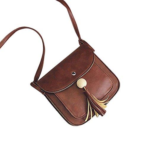 BZLine® Leder Fransen-Handtasche Crossbody Messenger Münze Taschen, 20cm(L)*18cm(H)*5cm(W) Kaffee