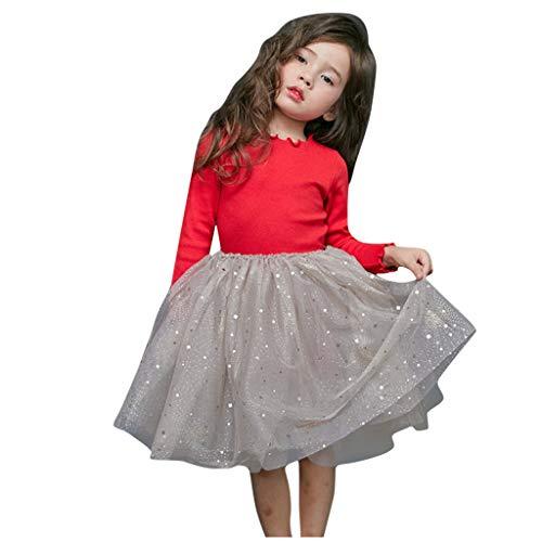 Likecrazy Herbst Kleider Mädchen Kleider Lange Ärmel Gestrickt Tutu Prinzessin Kleid Kleinkind Baby Kind Tüll Kleid Sternen Stricken Solide Freizeitkleid Lange Ärmel T-Shirt Kleid -