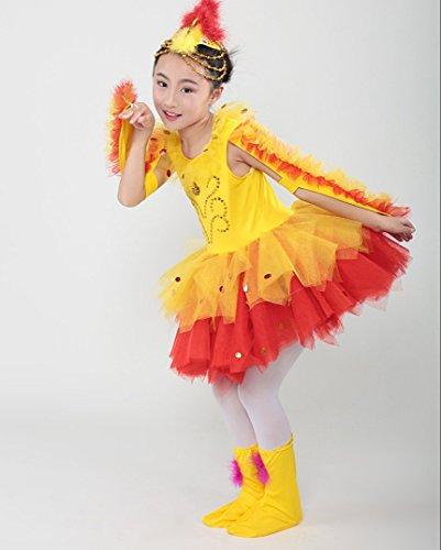 Wettbewerb Tier Kostüm - SMACO Latin Tanzkostüme Für Kinder Spielen Sie Tier Bühnenkostüme Gelb,160CM