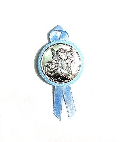 2R Argenti - Medalla Ángel de la Guarda para cuna de recién nacido - Realizada en plata bilaminada, plateado