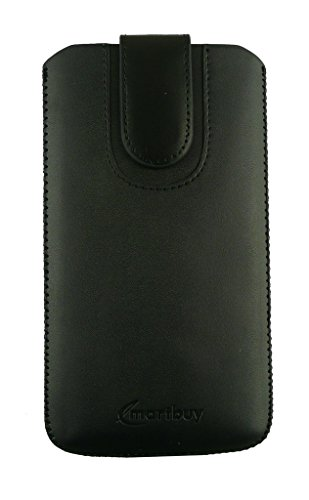 Emartbuy® Black Plain Premium PU Leather Slide in Pouch Case Cover Sleeve Holder ( Size LM4 ) With Pull Tab Mechanism Suitable For Lava Xolo Q2000  available at amazon for Rs.399