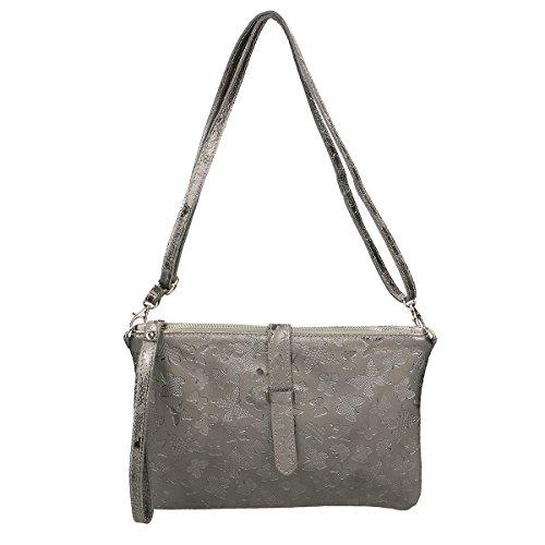 Chicca Borse Borsa a mano in pelle 25x16x7 100% Genuine Leather Ferro