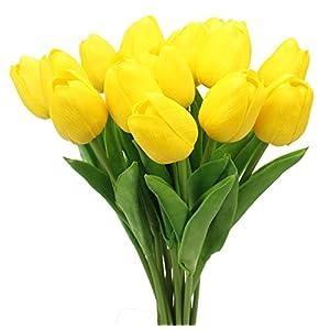 Xiuer – Ramo de flores artificiales de 20 cabezas de tulipanes artificiales de tacto real para decoración del hogar o la…