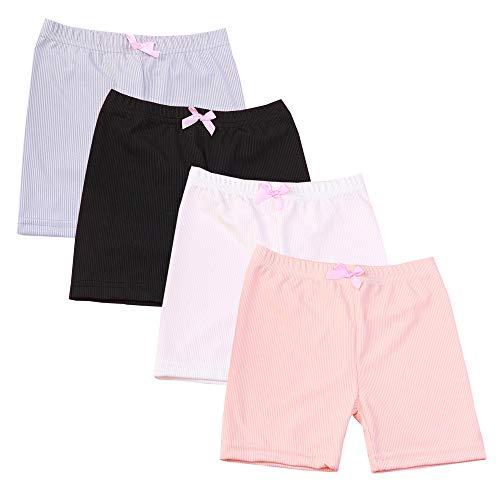 Kidear 3-12 Jahre Mädchen einfarbig Spitzenbesatz Boyshort Unterwäsche Sicherheit Kleid Höschen 4 Packung (Stil2, 6-8 Jahre) -