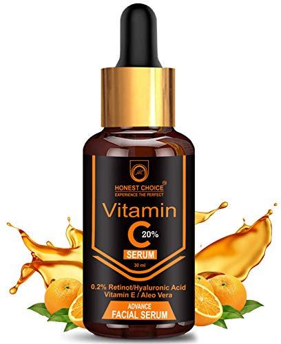 Honest Choice Vitamin c Serum 30 ml with Retinol n Hyaluronic acid For face,Anti Ageing, Brightening n Whitening Serum For Men n Women Face