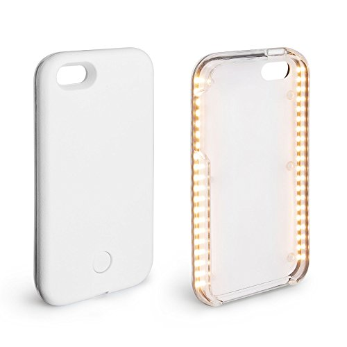 CARCASSE LED SMARTPHONE LUMINEUSE | Housse telephone portable pour selfies, videos, photos 5/5S/SE/6/6S/7/7PLUS | Coque lumineuse Iphone (iphone 6, 6S, 7 blanc)