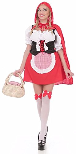 WIDMANN 57483 - Erwachsenenkostüm Rotes Mäntelchen, Bluse mit Korsett, Rock mit Schürze und Umhang mit Kapuze, Größe L