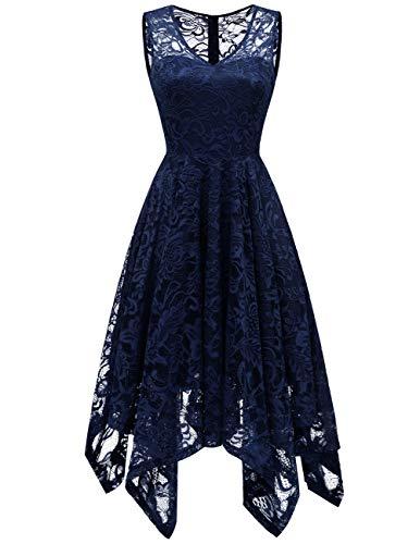 Meetjen Damen Elegant Spitzenkleid V-Ausschnitt Unregelmässiger Asymmetrischer Saum Festliches Kleid Cocktail Abendkleid Navy L -
