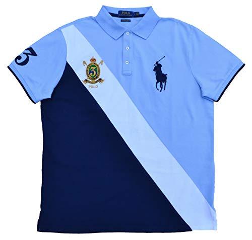 Ralph Lauren Herren Kurzarm Polo - Custom Slim Fit - Blau/Weiß (XL)