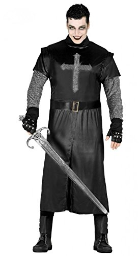 Kostüm Kettenhemd (Schwarzer Ritter mit silbernem Kreuz Herren-Kostüm Gr.)