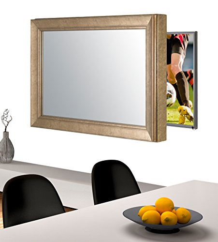 Handmade Framed Mirror to Turn Your Existing TV to Hidden Mirrored Television that Blends into Your Home or Business Decor (55 Inch, NY Bronze Black)